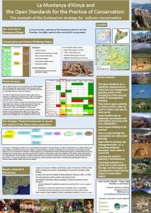 Pòster explicant part de les accions de conservació que es desenvolupen  a la Muntanya d'Alinyà